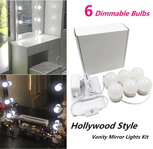 Hollywood Style LED Vanity Makeup Mirror Lights Kit with 6 Dimmable Bulbs,Lighting Fixture Strip for Makeup Vanity Table Set in Dressing Room(Mirror Not Included)