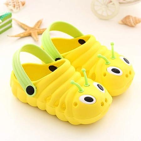 YWLINK Antideslizante Fondo Blando Verano NiñOs PequeñOs NiñOs BebéS Dibujos Animados Lindo Sandalias De Playa Zapatillas Baotou Zapatos Oruga Zapatos De Agujero Ocio Y Confort
