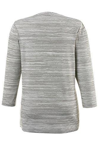 GINA_LAURA Damen Shirt in Kastenform   Trendiger Druck   Streifenmuster   Rundhalsausschnitt   3/4-Ärmel   bis Größe XXXL multicolor XXL 707791 90-XXL