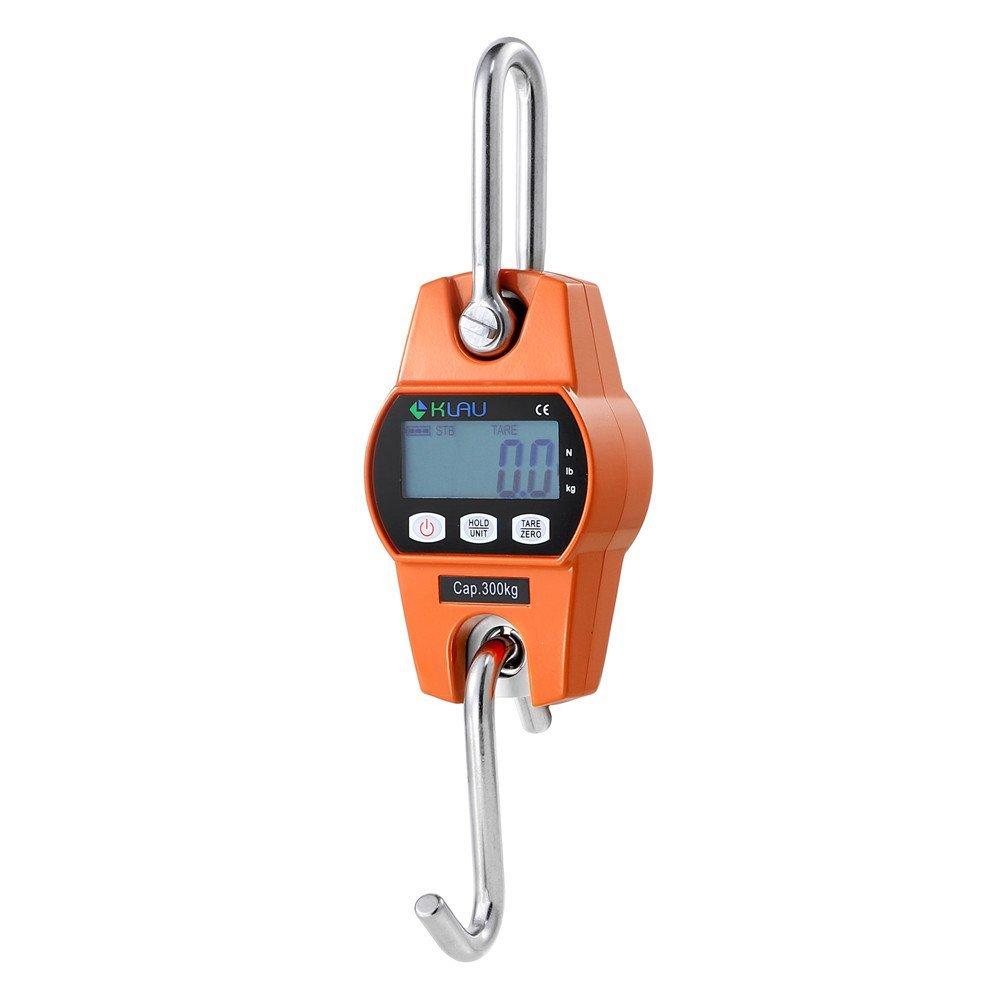 Crane Scale,Klau Mini Hoist 300 kg / 600 lb Industrial Heavy Duty Digital Hanging Scales Orange by Klau
