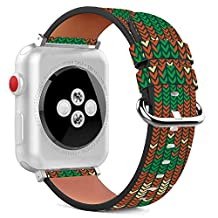 42mm Replacement PU Leather Wristband Bracelet with Stainless Steel Clasp and Adapters for Apple Watch - Grandmothers Christmas Sweater