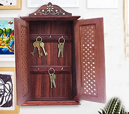 Wooden Handmade Key Box Double Door Net Design Key Security Boxes Key Storage Boxes & Amazon.com : Wooden Handmade Key Box Double Door Net Design Key ...