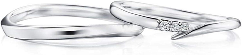Epinki Anillo Oro Blanco 18k Clásico Simple Pulido 4-Garras Diamante 0.05ct Anillos de Compromiso de Hombre