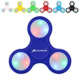 Fidget Hand Finger Spinner, Accmor EDC Toys with Battery Replaceable LED Lights Helps Stress Reducer Relieves ADHD Anxiety for Kids & Adults-Deep Blue