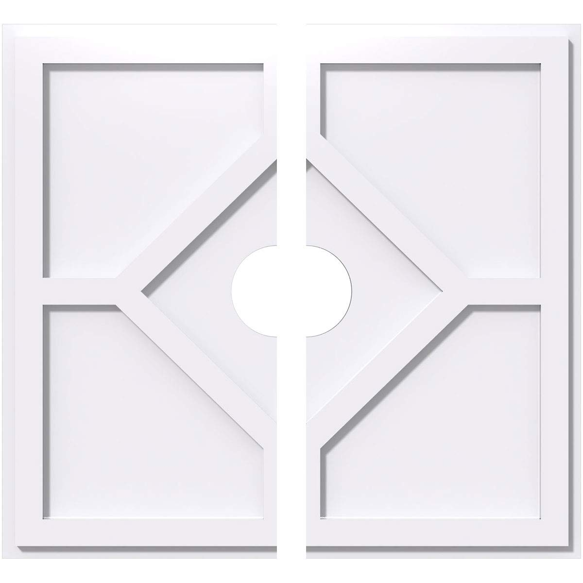 Ekena Millwork CMP36EY2-06000 36 in. OD x 6 in. ID Square Embry Architectural Grade PVC Contemporary Ceiling Medallion - 2 Piece