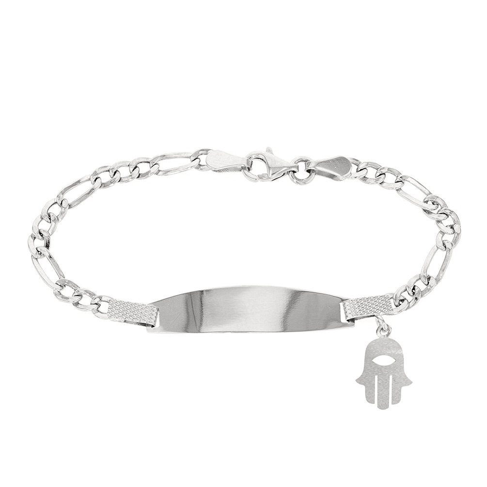 Solid 14K White Gold Baby ID Bracelet with Hamsa, 6''