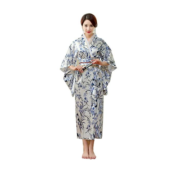 Amazon.com: Satin Silk Robes Women Bathrobes Long Dressing Gown ...