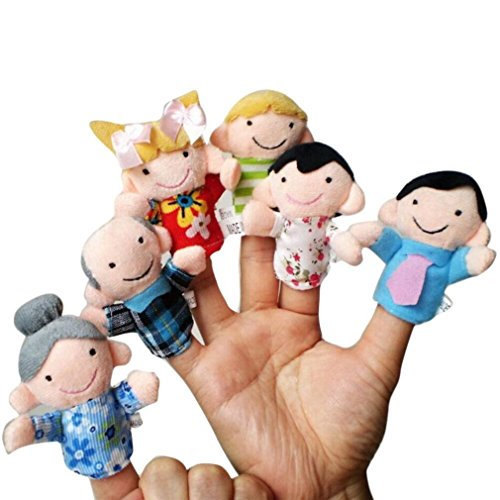 Family Big Mouth Puppets (E-SCENERY 6 pcs Story Time Finger Hand Puppets, Family Member Puppets Toy for Kids Baby Toddlers (Random Style))