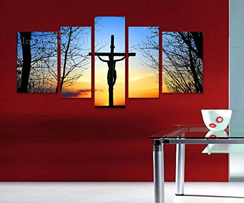 Indesign Wall Art *Jesus Cross In Sunrise* Modern Home Decor - Top Quality Canvas Print Set of 5 - Stretched & Ready to Hang - Big Size 64x36x1 Inches / - Wall Top Decor Quality