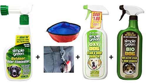 - Simple Green Outdoor Odor Eliminator Hose End Sprayer for Pets with Oxy Dog Stain & Odor Oxidizer, Bio Dog Stain & Odor Remover and Foldable Pet Bowl - All 32OZ Quart Spray Bottles - NON-TOXIC Formula