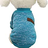 Howstar Pet Classic Outfit, Puppy Warm Coat Cute Woolen Doggie Winter Sweater (S, Blue)