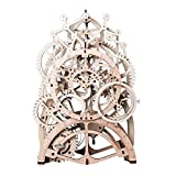 ROBTOIME 3d Assembly Puzzles Wooden Mechanical Gears Decor Laser-Cut Pendulum Clock Model Kit Best Engineering Toys for Teens