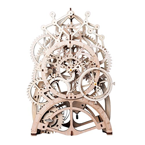 ROBTOIME 3d Assembly Puzzles Wooden Mechanical Gears Decor Laser-Cut Pendulum Clock Model Kit Best Engineering Toys for - Wood Clock Kits