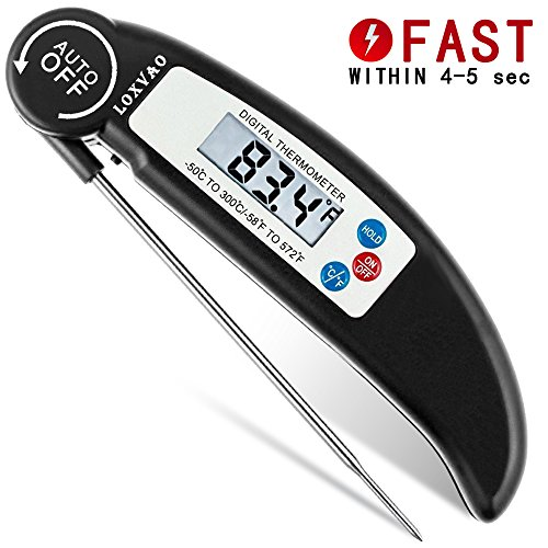Probe Adapt (Digital Meat Thermometer, LOXVAO Instant Read Food Thermometer with Collapsible Internal Stainless Steel Probe & Large LCD Screen Display for Cooking, Grill, BBQ, Milk, Oven, Baking and Bath Water)