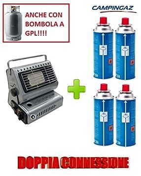 Estufa estufa a gas portátil doble casquillo GPL/Butano + 4 Cartucho original Campingaz (): Amazon.es: Jardín