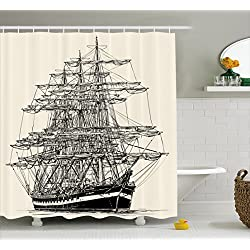 Ambesonne Pirate Ship Shower Curtain, Sailing Boat Detailed Illustration Nautical Maritime Theme Vintage Style Art, Fabric Bathroom Decor Set with Hooks, 70 inches, Cream Black
