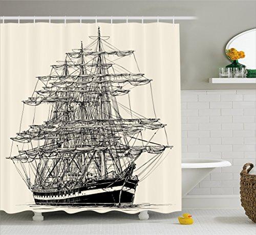 Ambesonne Pirate Ship Shower Curtain, Sailing Boat Detailed Illustration Nautical Maritime Theme Vintage Style Art, Fabric Bathroom Decor Set with Hooks, 70 inches, Cream Black