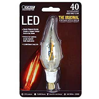 Feit Electric BPCFT Electric Dimmable Led Bulb, 40 W, 120 Vac, (Candelabra) Base, Soft, 210 Lumens, 15000 Hr, CA10, Amber E12 Blister Pack