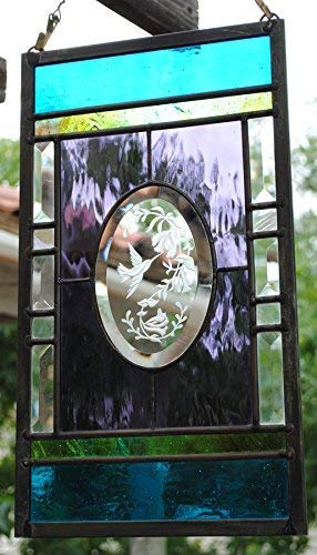 Stained Glass Window Sandcarved Hummingbird and ()