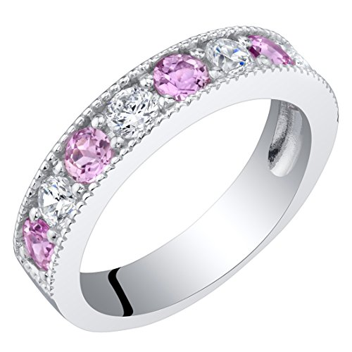 Sterling Silver Created Pink Sapphire Milgrain Half Eternity Ring Band Size 5