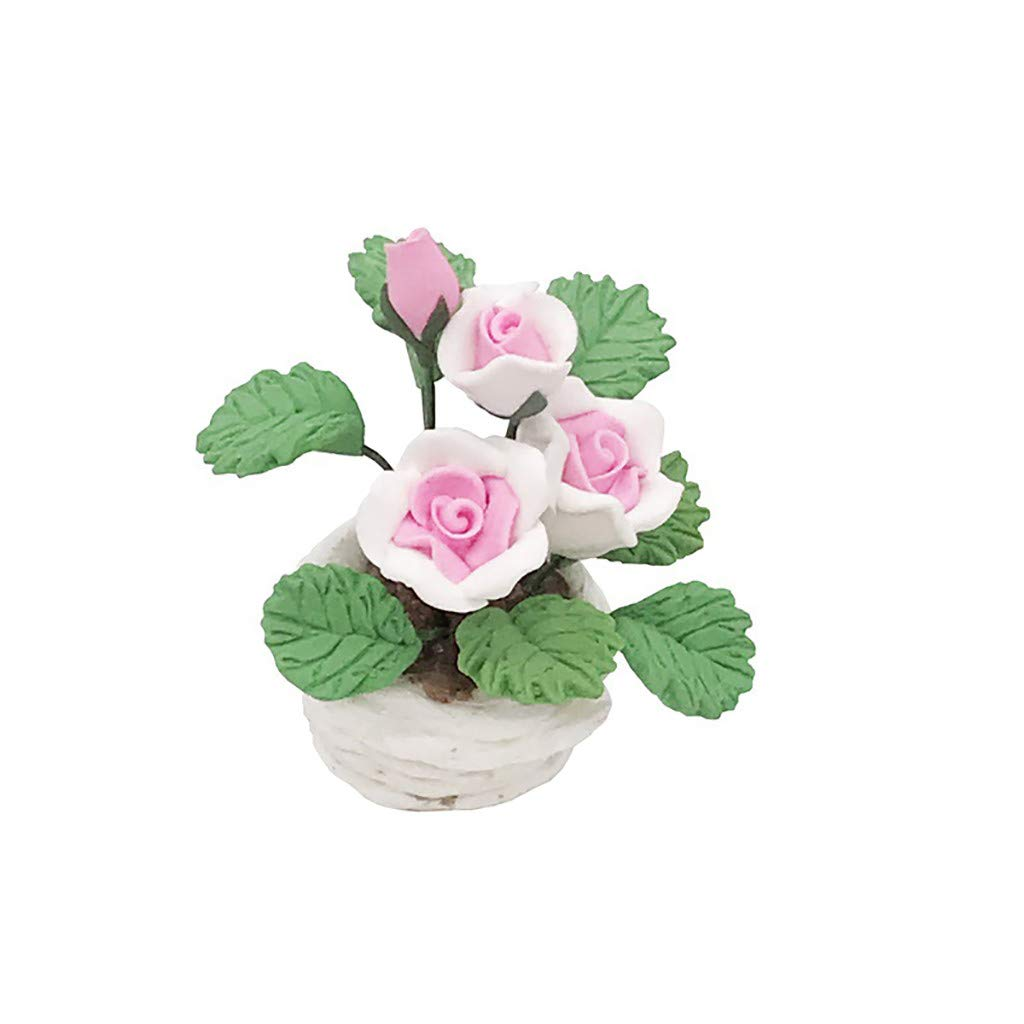 callm 1/12 Miniature Scene Model Dollhouse Accessories Mini Green Plant Flower Kid Toy for The 1:12 or 1:6 Scale Miniature Setting (Pink)