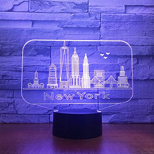 Sykdybz New York City Building 3D Night Light Colorful Led Atmosphere Bedroom Table Lamp Lovely 7 Color Change 3D USB Led Night Light]()