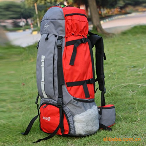 CY 80L großer Kapazität outdoor Rucksack Wandern Tasche Schulter, rot
