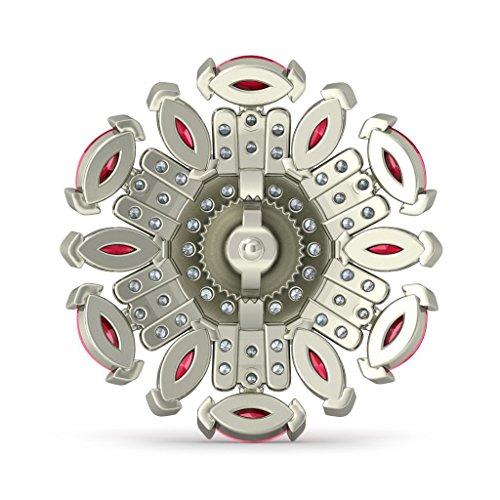 18K Or Blanc 0,59CT TW Round-cut-diamond (IJ | SI) et émeraude et rubis Boucles d'oreille à tige
