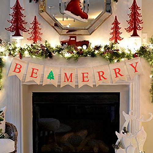 Faisichocalato Be Merry Christmas Burlap Rustic Banner Christmas