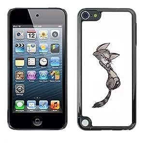 PC/Aluminum Funda Carcasa protectora para Apple iPod Touch 5 cute cat kitten minimalist gay drawing / JUSTGO PHONE PROTECTOR
