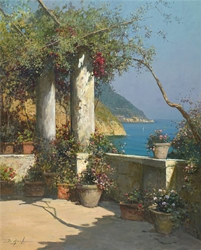 Giovanni Diguida Hand Signed And Numbered Limited Edition Canvas:Terrace In Positano