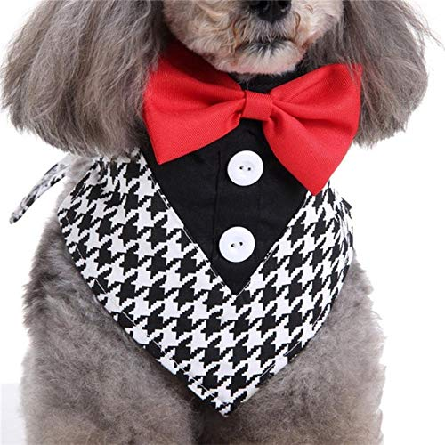 (KARSEEMEE STORE Dog Tuxedo Collars Wedding Formal Dog Bandana with Bow Tie&Neck Tie Designs Slip-Over-The Collar Pet Bandana S/M/L (L 50-60cm Neck,As Pic 1) - Collars)