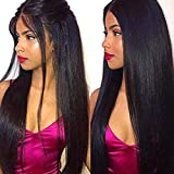 Persephone Light Yaki Straight 360 Lace Frontal Wig Pre Plucked With Baby Hair Brazilian Remy Human Hair Wigs For African American Women 150 Density 14 inch Natural Color