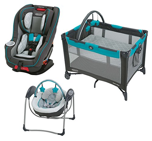 Graco Size4Me 65 Convertible Featuring Rapid Remove Car Seat with On The Go Playard & Baby (Graco Travel Swing)