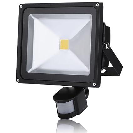 30W Foco con Sensor de Movimiento,3000K Blanco Calido Foco LED Exterior con Sensor Movimiento