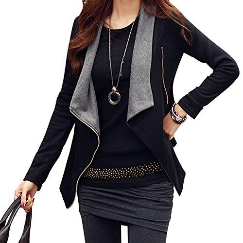 Silhouette Cotton Blouse - Women's Side Zipper Jacket (Large, Black)
