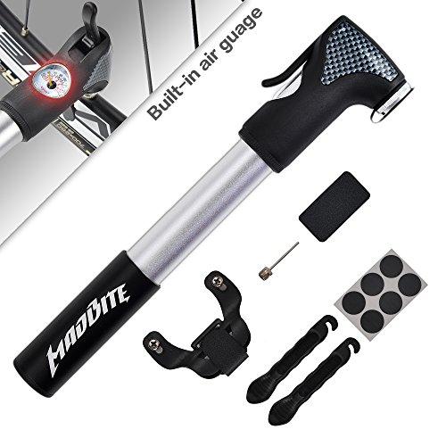 Madbite® Mini Bike Air Pump 120PSI Telescopic, Compact & Portable Bicycle Frame Pump - Easy-Read Gauge - BONUS 2 Tire Bars, 6-Piece Glueless Puncture Repair Kit, 1 Inflation Needle - Fits Presta and Schrader Air Valves, Lifetime Warranty (Air Pump)