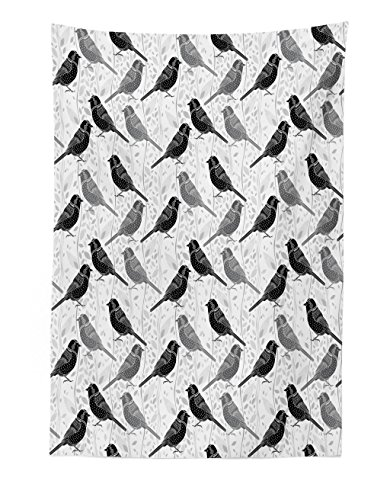 Lunarable Grey and White Tapestry, Bird with Ornate Patterns on Wavy Vertical Lines and Leaves, Fabric Wall Hanging Decor for Bedroom Living Room Dorm, 30