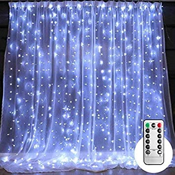 10 Ft LED Curtain String Lights With Remote Timer 300 Icicle Fairy