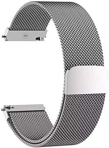 Pulsera de reloj [Malla Milanesa de 24 mm] [acero inoxidable] para hombre y mujer – Para reloj inteligente y clásico, compartible con varias marcas