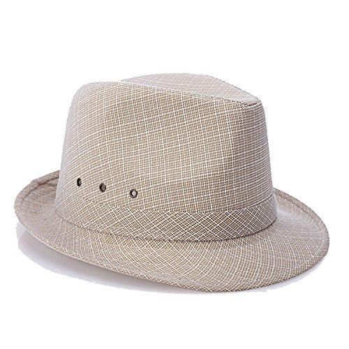 (Hat Men's Middle-Aged and Elderly Spring Summer British Linen Sunshade Outdoor Sun Hat,Camel,60cm)