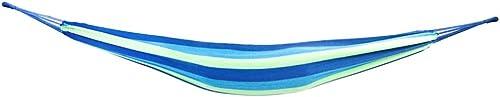 Portable Polyester Cotton Hammock Blue Green Strip