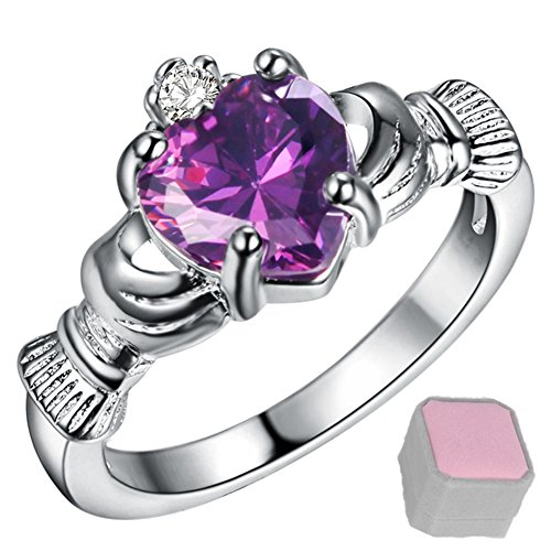 Claddagh Crystal - WIBERN Silver Plated Heart Shape Amethyst Crystal Stone Claddagh Ring, Charm Engagement Rings for Women (Color-Size:Purple-7)