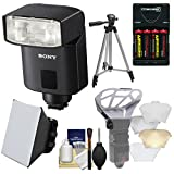 Sony Alpha HVL-F32M Compact Flash with Batteries & Charger + Soft Box + Diffuser + Tripod Kit