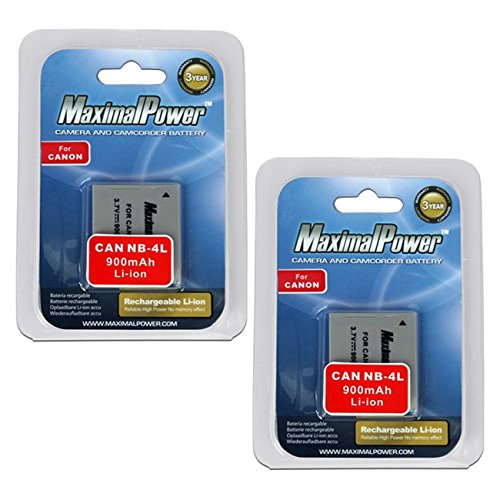 Maximalpower  Replacement Battery For Cannon Nb 4L   Powershot Sd1400 Is Sd 30 40 200 400 600 750 780 940Is And 960Is Camera 2 Pack