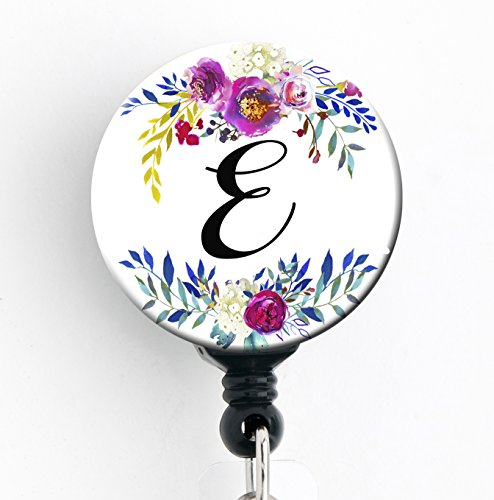 Good Clips (E - Watercolor Floral Wreath - Retractable Badge Reel With Swivel Clip and Extra-Long 34 inch cord - Badge Holder)