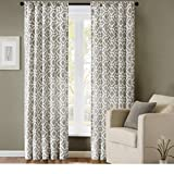Single Piece Ella Grey 95 Inch Curtain Panel, Elegant Feature, Geometric Pattern, Casual Mid-Century Style, Cotton Polyester Material, Easily To Clean, Silver, Charcoal, Sage Grey, Dark Grey