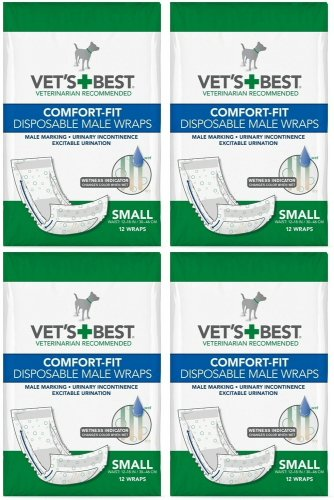 Vet's Best Veterinarian's Best Comfort-fit 12 Count Disposable Male Wrap, Small by (Overall count of 48)