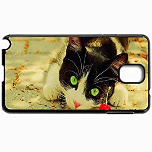 Customized Cellphone Case Back Cover For Samsung Galaxy Note 3, Protective Hardshell Case Personalized Black And White Cat And Cherry Cats Black