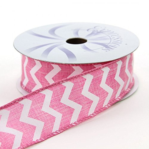 1.5x10yd Pink//White Wired Small Chevron Ribbon